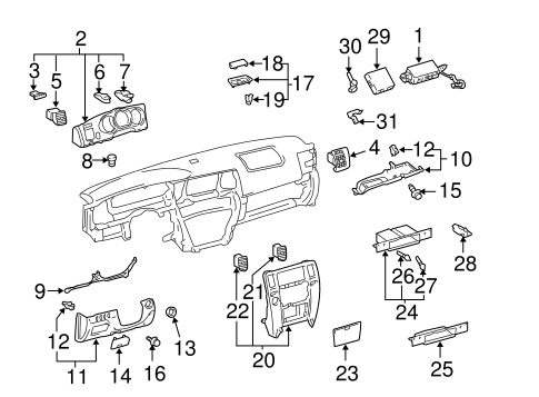 Instrument Panel Components for 2004 Toyota 4Runner