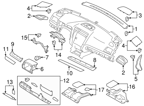 Instrument Panel Components for 2016 Subaru Outback