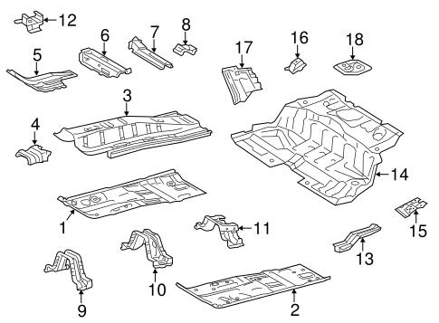 Genuine OEM Floor & Rails Parts for 2013 Toyota Prius C