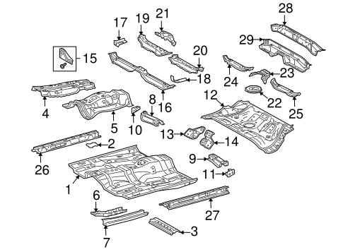 Genuine OEM Floor & Rails Parts for 2005 Scion tC Base
