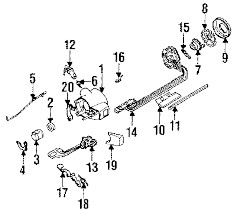 STEERING COLUMN HARDWARE Parts for 1991 Chevrolet S10 Blazer