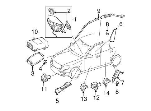 Air Bag Components for 2011 Mercedes-Benz C 300