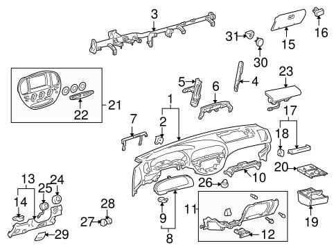 Genuine OEM Instrument Panel Parts for 2004 Toyota Sequoia