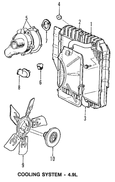 Radiator & Components for 1995 Ford E-150 Econoline Club