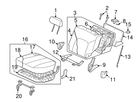 REAR SEAT COMPONENTS for 2005 Mitsubishi Endeavor