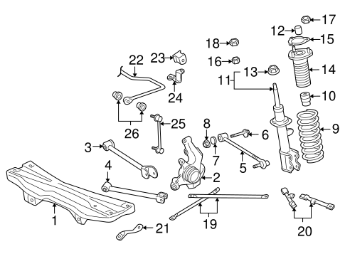 Genuine OEM REAR SUSPENSION Parts for 2005 Toyota MR2