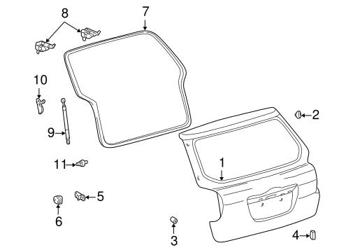 Genuine OEM Gate & Hardware Parts for 2007 Toyota Matrix