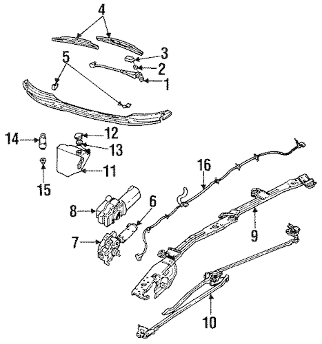 OEM Wiper Components for 1993 Chevrolet Lumina