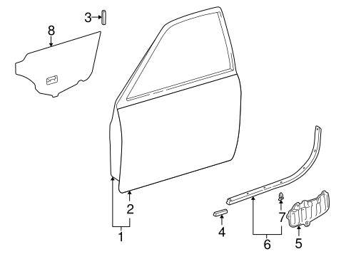 Genuine OEM DOOR & COMPONENTS Parts for 1997 Toyota Camry