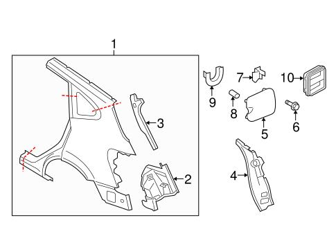 OEM 2008 Nissan Rogue Quarter Panel & Components Parts