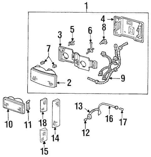 HEADLAMP COMPONENTS for 1993 Chevrolet C1500