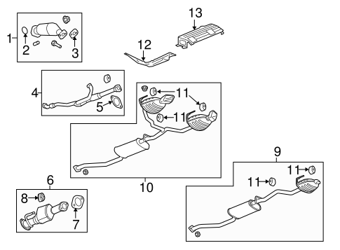 OEM EXHAUST COMPONENTS for 2009 Chevrolet Traverse