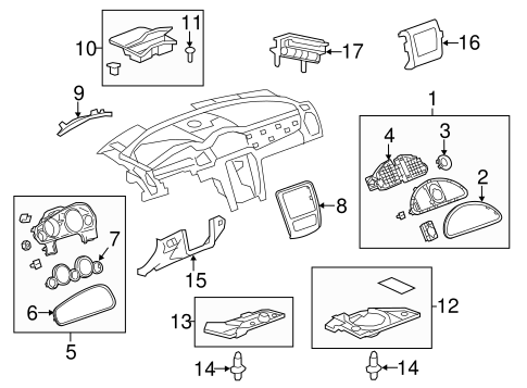 INSTRUMENT PANEL COMPONENTS Parts for 2014 Buick Enclave