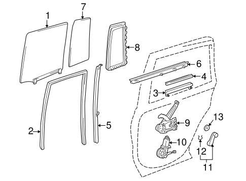 Genuine OEM Rear Door Parts for 1999 Toyota RAV4 Base