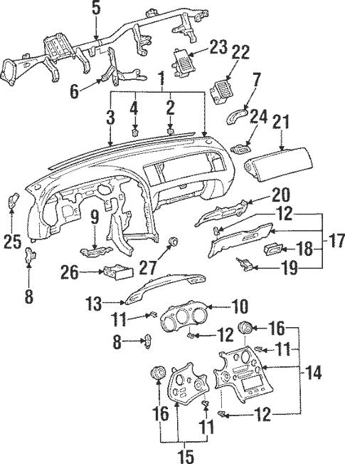 Genuine OEM Instrument Panel Parts for 1998 Toyota Supra