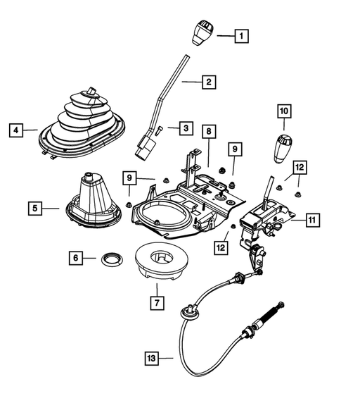 Gearshift Controls and Related Parts for 2008 Jeep