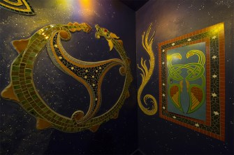 Intricate Celtic inspired mosaics and paintings