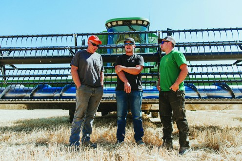 Jerry Duling (left) with his two sons, Nathan Duling (middle) and Josh Duling out on the farm in Maupin, OR.