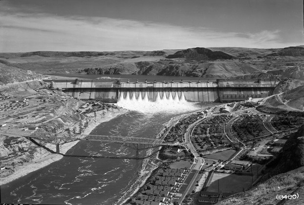 The Grand Coulee Dam at the time Woody Guthrie saw it (photo courtesy of the Bonneville Power Administration)