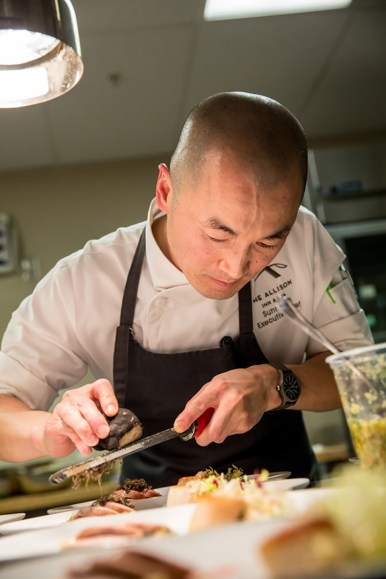 Chef Sunny Jin of The Allison Inn & Spa prepares for the Black & White Dinner Series in 2016.