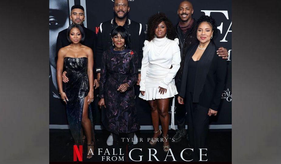 "Tyler Perry et les acteurs de ""A Fall From Grace"""