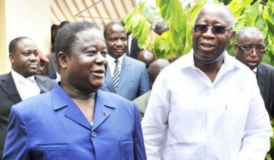 Laurent Gbagbo (droite) et Henri Konan Bédié (Côte d'Ivoire)
