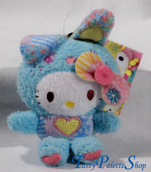 Sanrio Hello Kitty X Colorful Bunny Patchwork Plush blue