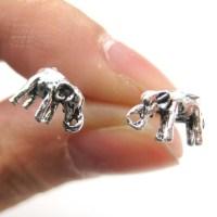 3D Miniature Elephant Animal Stud Earrings in Sterling ...