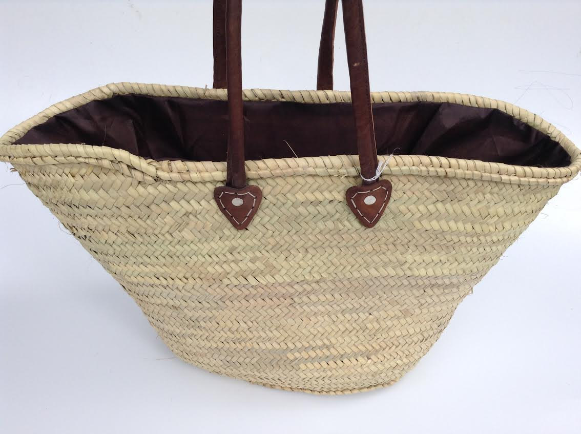 Morocco Souk Natural Straw  Brown Leather Shopping Basket