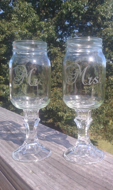 Mr and Mrs Redneck Hillbilly Mason Jar Wine Glasses on