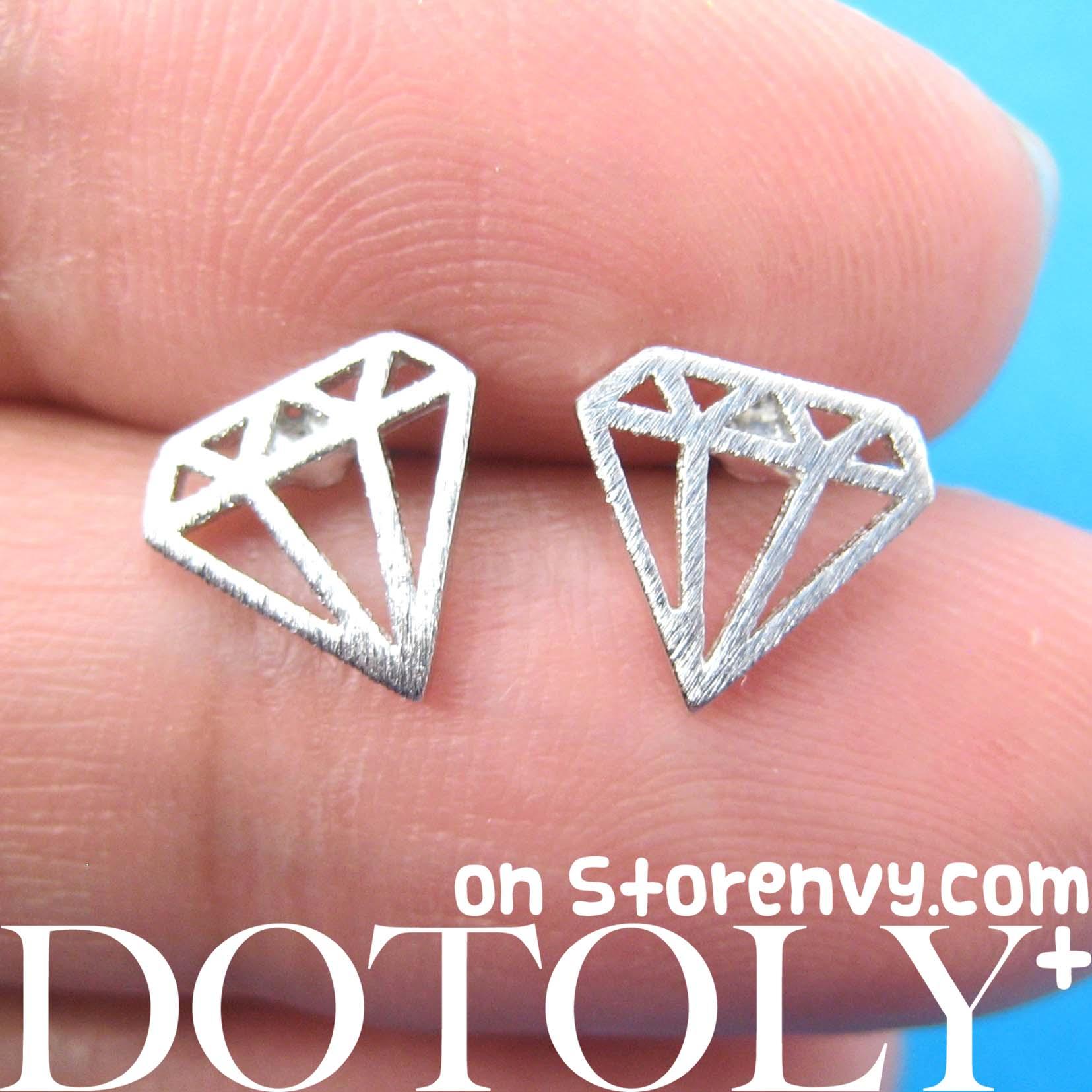 Diamond Shaped Stud Earrings in Sterling Silver  DOTOLY