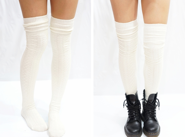 5d9138054e5 Cozy Cable Knit Thigh High Socks Boot Socks Creamy White