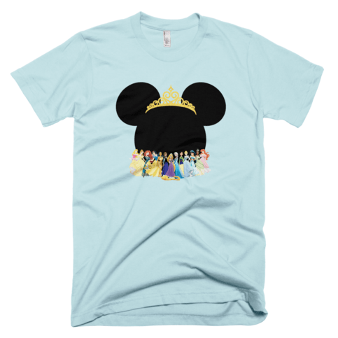 Disney Princesses with Minnie Mouse Head Adult Tshirt on