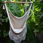 Hammock Chair Hanging Chair Porch Swing Off White With Macrame Fringe Mission Hammocks 100 Handmade Sold By Mission Hammocks