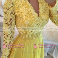Long Sleeves Lace Prom Dresses with Open Back, Plunge V ...