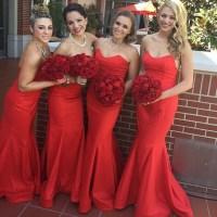 Trumpet Red Bridesmaid Dress, Sleeveless Sweetheart Silk ...