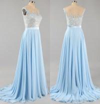 Light Blue Prom Dress with Floral Lace Applique, Cap ...