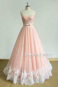 Sweetheart Girl | Unique Sweetheart tulle lace long pink ...