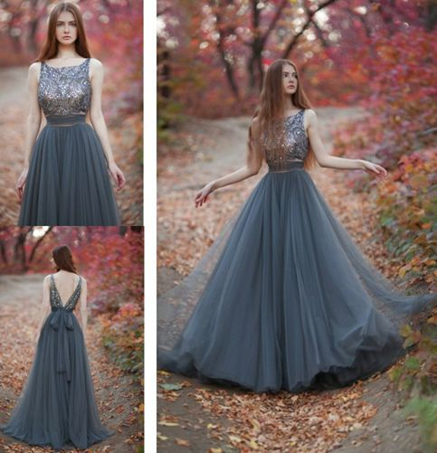Aline grey tulle long prom dresses 2016 evening dresses  Dream Prom  Online Store Powered by