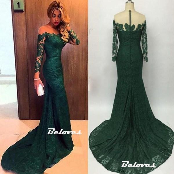 Dark Green Illusion Shoulder Lace Mermaid Prom