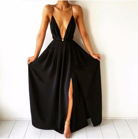 Simple v neck backless black long prom dress evening