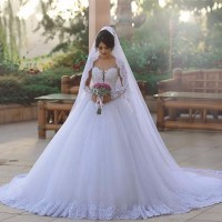 Lace White Wedding Dress Ball Gown Appliques Tulle Country ...
