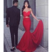 Red prom dress, simple sexy prom dress, mermaid prom dress ...