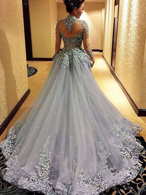 gorgeous prom dresslong gray Prom Dresscharming evening gownBall gown prom gown2017 prom