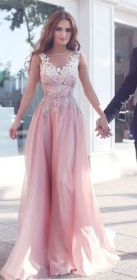 Pink round neck lace long prom dress, pink bridesmaid ...
