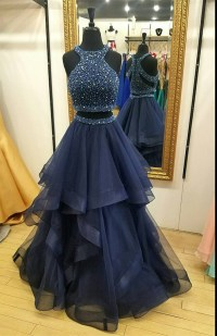 Charming Navy Blue Prom Dress,Two Piece Prom Dresses,Ball ...