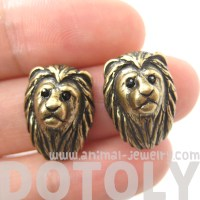 Realistic Lion with Mane Cat Shaped Stud Earrings in Brass ...