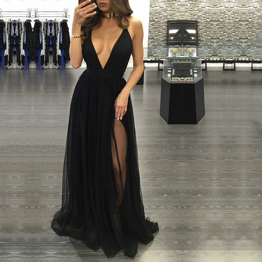 Black Prom Dresses Hot Aline Vneck Long Party Dresses Sexy Tulle Floorlength Backless