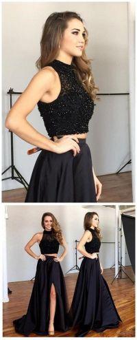 Two Pieces Black Prom Dress, Graduation Party Dresses ...