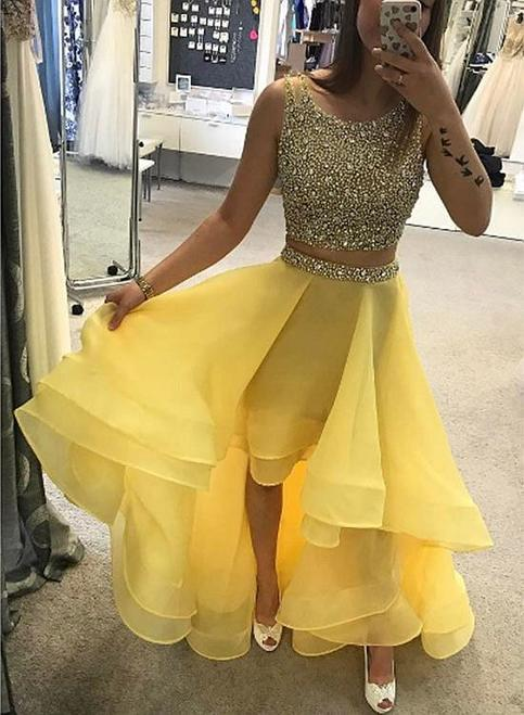Luxurious ALine TwoPiece High Low Yellow PromHomecoming
